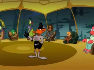 Duck Dodgers with council members Gazoo, Klingon, Jupiterian, and Zoidberg