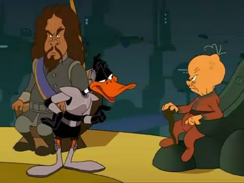 Duck Dodgers argues with alien in Attack Of The Drones