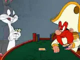 Bugs plays blackjack as Sam deals