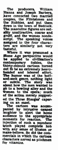 An excerpt of the Oct. 1, 1960 Flintstones review