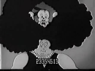 Oswald peering through a woman's big hairdo