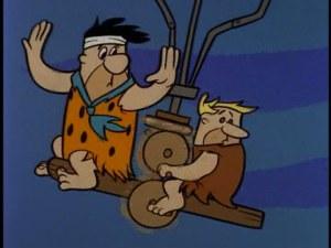 """Fred and Barney in """"Flintstone Flyer"""""""