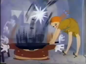Swing Shift Cinderella hitting Wolf on head with frying pan