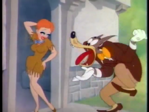Tex Avery's Wolf stands tongue-tied in reaction to Swing Shift Cinderella