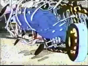 Rhonoceros smashes circus wagon