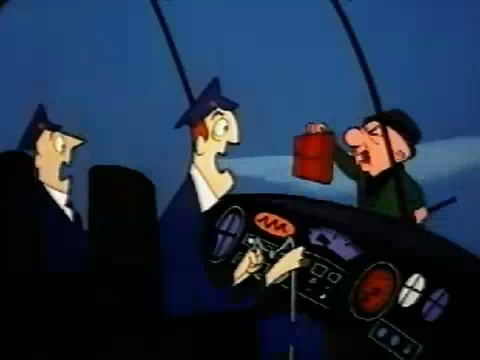Mr. Magoo looking through front window of plane from outside, as shocked pilots look on