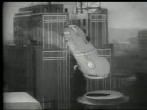 """Betty Boop's """"Pep"""" machine going wild through the city"""